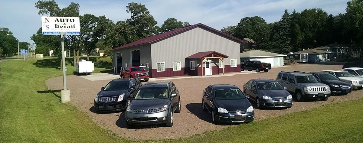 Dealership lot and detailing building of NCS Auto & Detail in Sauk Centre, MN